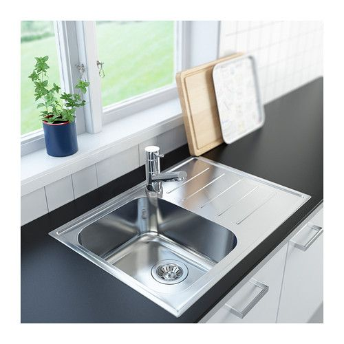 Small Kitchen Sink Cabinet: BOHOLMEN 1 Bowl Inset Sink With Drainer IKEA 25-year