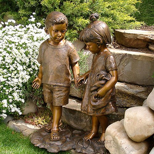 Bronze Yard Statues Of Children Is Cast By The Process Lost Wax Casting We