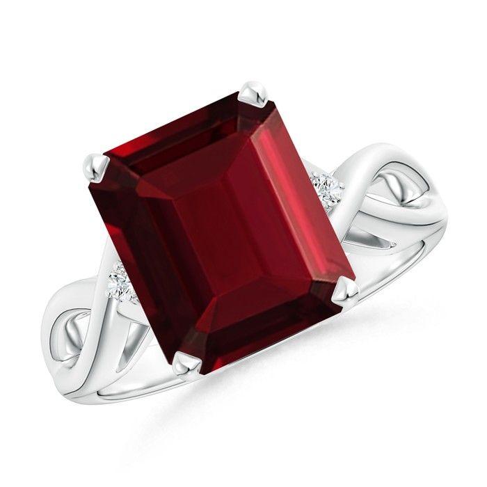 Angara Three Stone Emerald-Cut Ruby Ring in Rose Gold G6GkQt