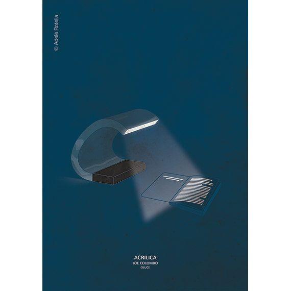 ACRILICA lamp, design by Joe Colombo - original illustration design by Adele Rotella