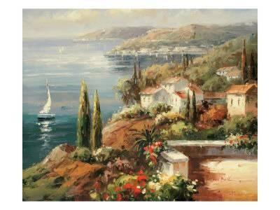 Mediterranean Vista Premium Giclee Print by Peter Bell at AllPosters.com