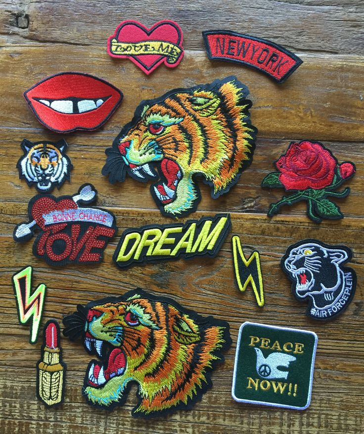DIY Project 14 Pieces Street Style Tiger Theme Embroidered Bulks Patches