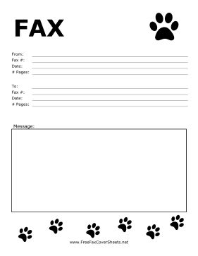 Great for animal-lovers, this fax cover sheet has little paw prints in the corners. Free to download and print