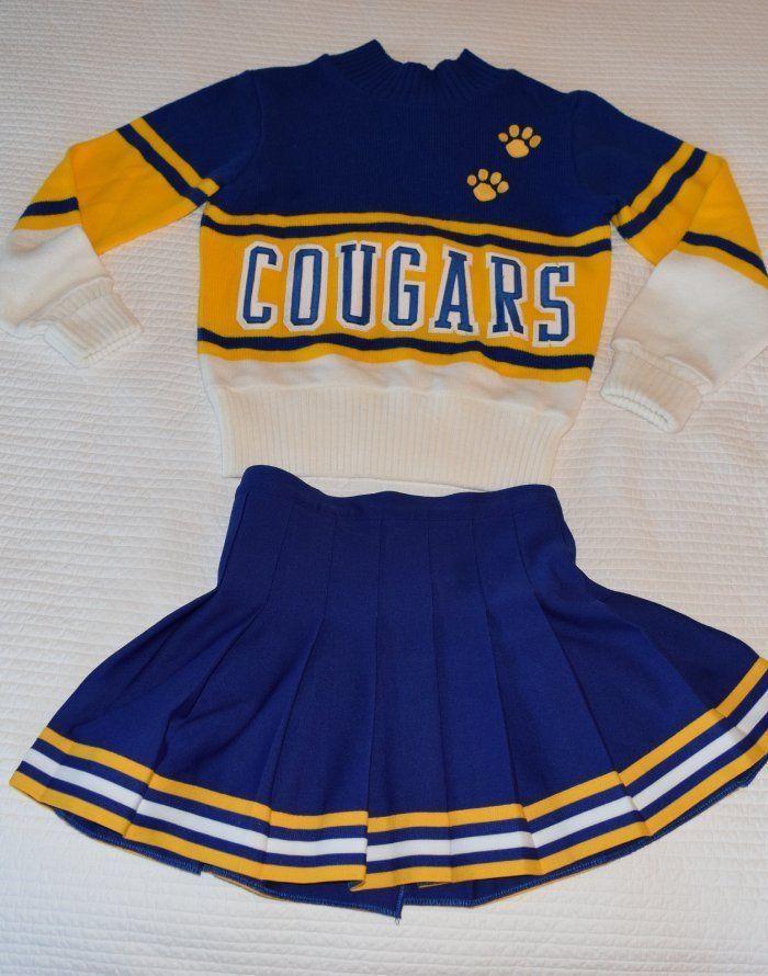 Womens Vintage Cheer Uniform Costume Blue Gold Sz Small Cheerleading Cheerleader | eBay