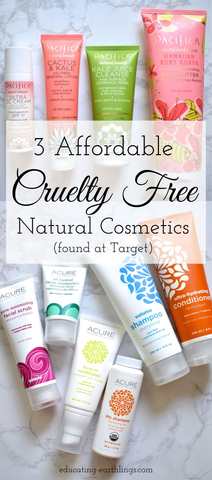 affordable & cruelty free cosmetics found at target! Pacifica cosmetics, elf cosmetics, Acure cosmetics, all natural and cruelty free cosmetics, cheap cruelty free makeup
