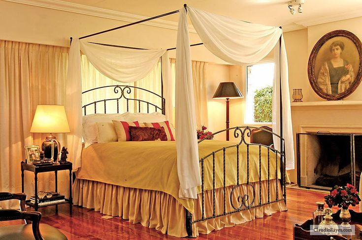 Romantic canopy beds romantic wrought iron beds - Black canopy bed curtains ...