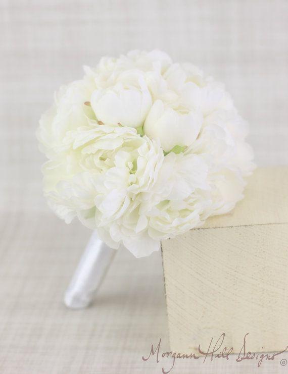 Silk Bridesmaid Bouquet Cream Peony Peonies Rustic Chic Garden Wedding (Item Number 130087), $69.00