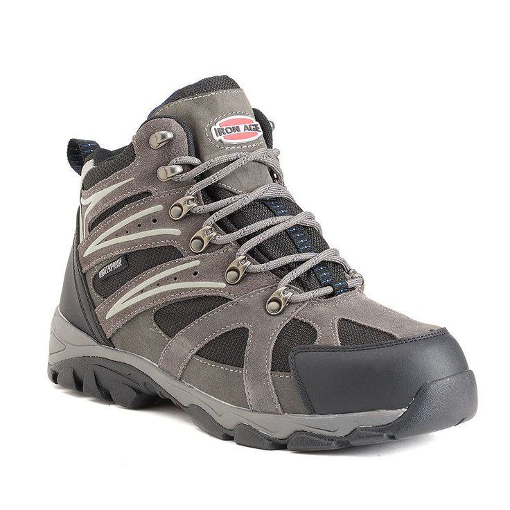 Iron Age Surveyor Men's Waterproof Steel-Toe Hiking Boots, Size: medium (10.5), Grey