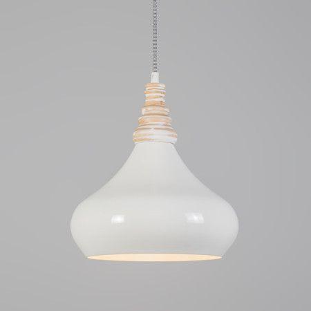 """Pendelleuchte Maple cremeweiß Edle Pendelleuchte mit cremweißem Schirm aus Aluminium, kombiniert mit raffinierten Details aus Holz und Textilkabel! Die Leuchte """"Maple"""" bringt eine warme luxuriöse Atmosphäre in Ihr Wohnzimmer und ist ein Blickfang über jedem Esstisch. #Pendelleuchte #Lampe #Light #wohnen #einrichten #Innenbeleuchtung"""