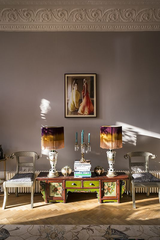Matthew Williamson's home features in this month's Living Etc magazine with a full article entitled 'bohemian rhapsody'. These fringe lamp shades create the perfect touch on the low green side table in Matthew's home. Click to read more.