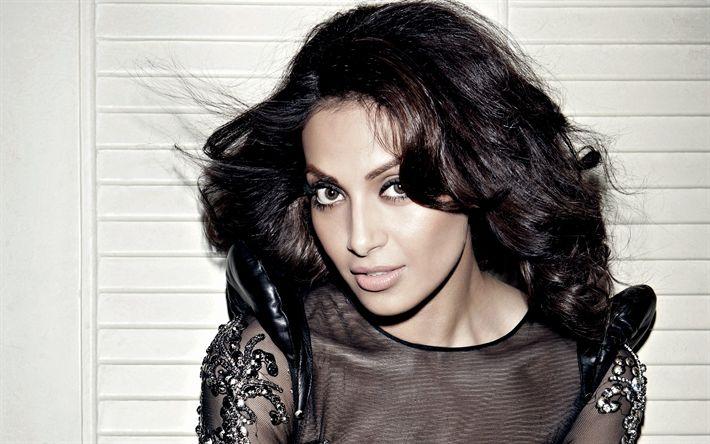 Download wallpapers Bipasha Basu, 4k, Indian actress, Bollywood, fashion model, black evening dress, make-up