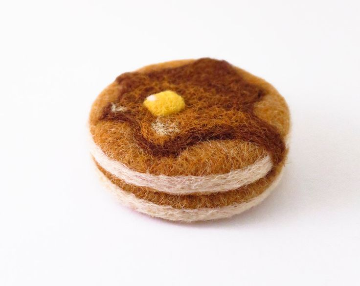 Needle Felted Pancake Ornament by fuzzefood on Etsy