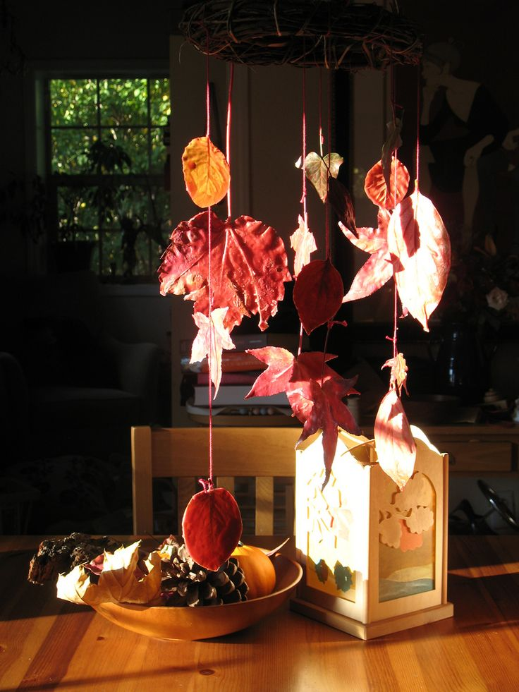 Our Autumn Leaf Mobile - leaves are dipped in melted wax first...see flickr photos a few back from this one