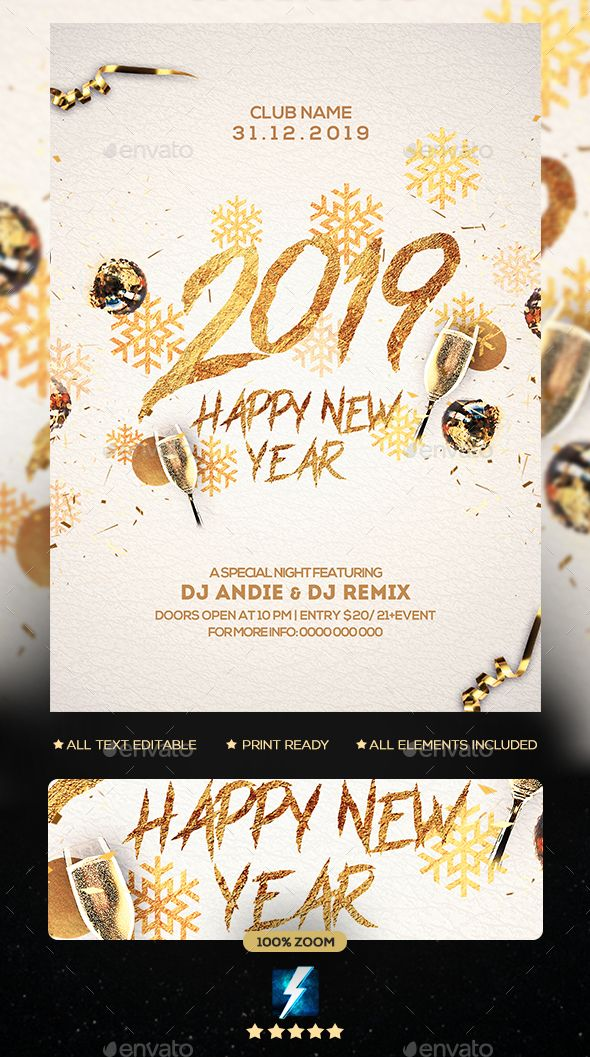 2019 New Year Party Flyer Template PSD \u2022 Easy Editable Text \u2022 CMYK