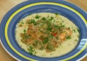 Shrimp Etouffee and Parmesan Cheese Grits: key is stone ground grits.
