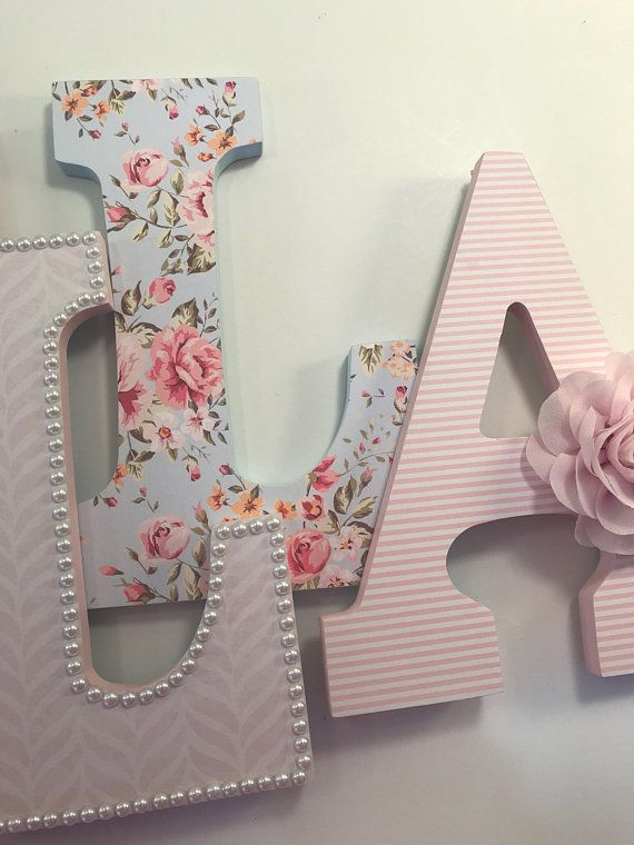 S Blue And Pink Nursery Letters