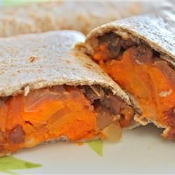 Pretty fantastic sweet potato burritos. When I made them, I altered them slightly - we didn't have all the right spices - and interestingly enough, added spam to the beans. It was delicious!