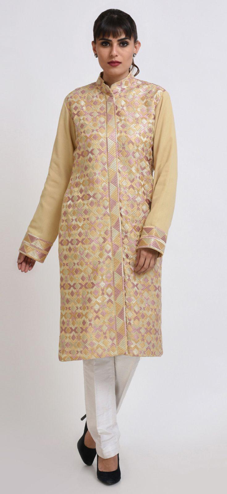 46e63460b5 Beige Gold Phulkari Embroidered Cotton-Wool Jacket | Eid 2018 ...