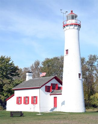 Sturgeon Point Lighthouse, located 4 miles north of Harrisville, Michigan on the shore of Lake Huron--LHF-history