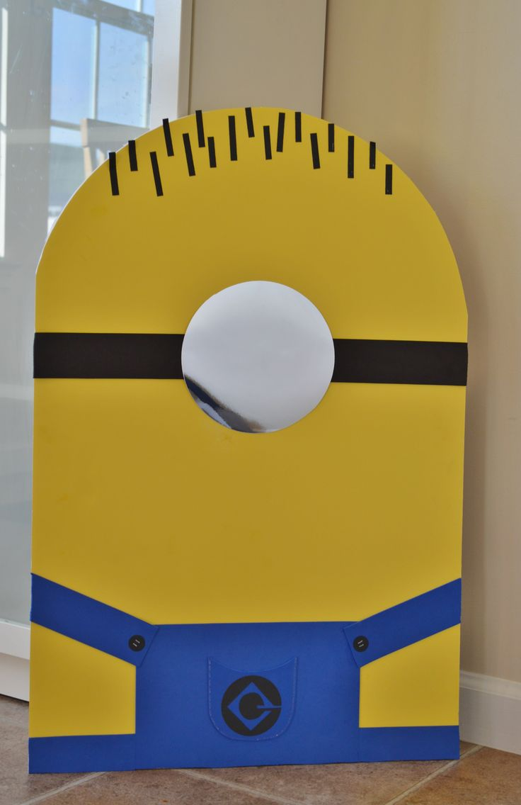 The blank minion for the 'Pin the Eye on the Minion' party game. Made with yellow poster board, blue foam sheets and paper.