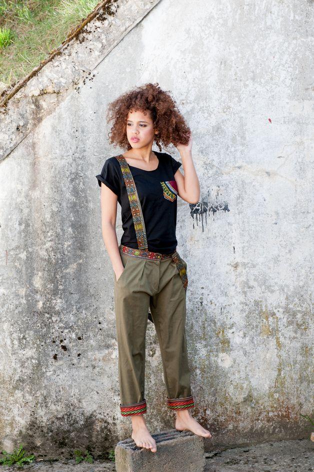 Hose mit Hosenträgern im afrikanischen Stil, Latzhose / trouser with braces, fashion made by KOKOworld via DaWanda.com
