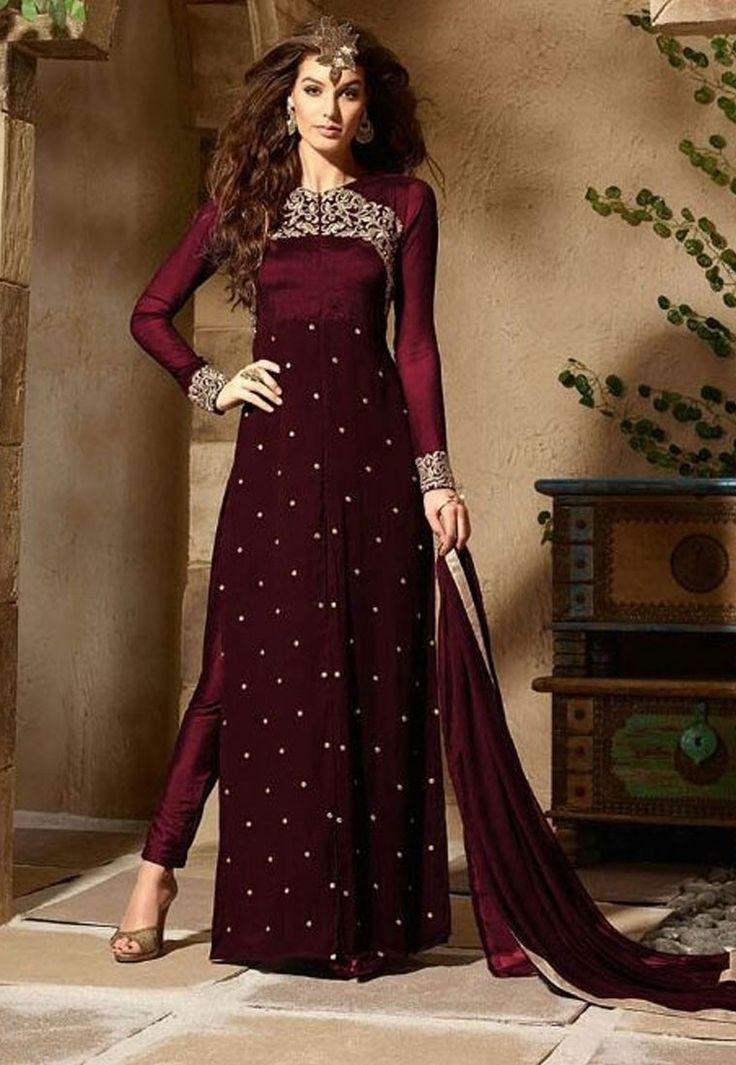 """""""Every generation laughs at the old #fashions, but follows religiously the new.""""  Shop Maroon Color Georgette #Designer #Anarkali #Salwar #Kameez"""