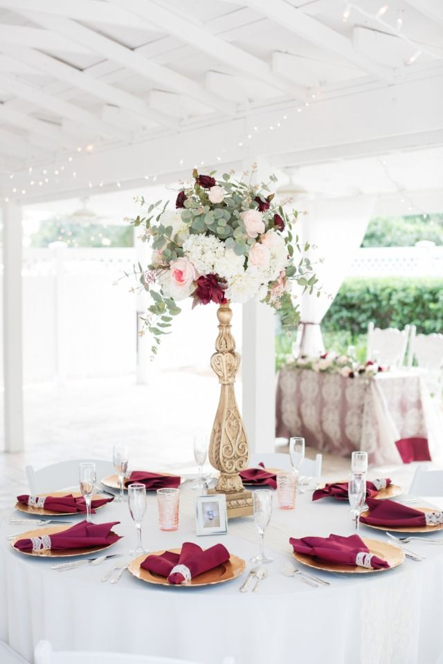 Add Some Navy To This Burgundy Garden Wedding At Cross Creek Ranch