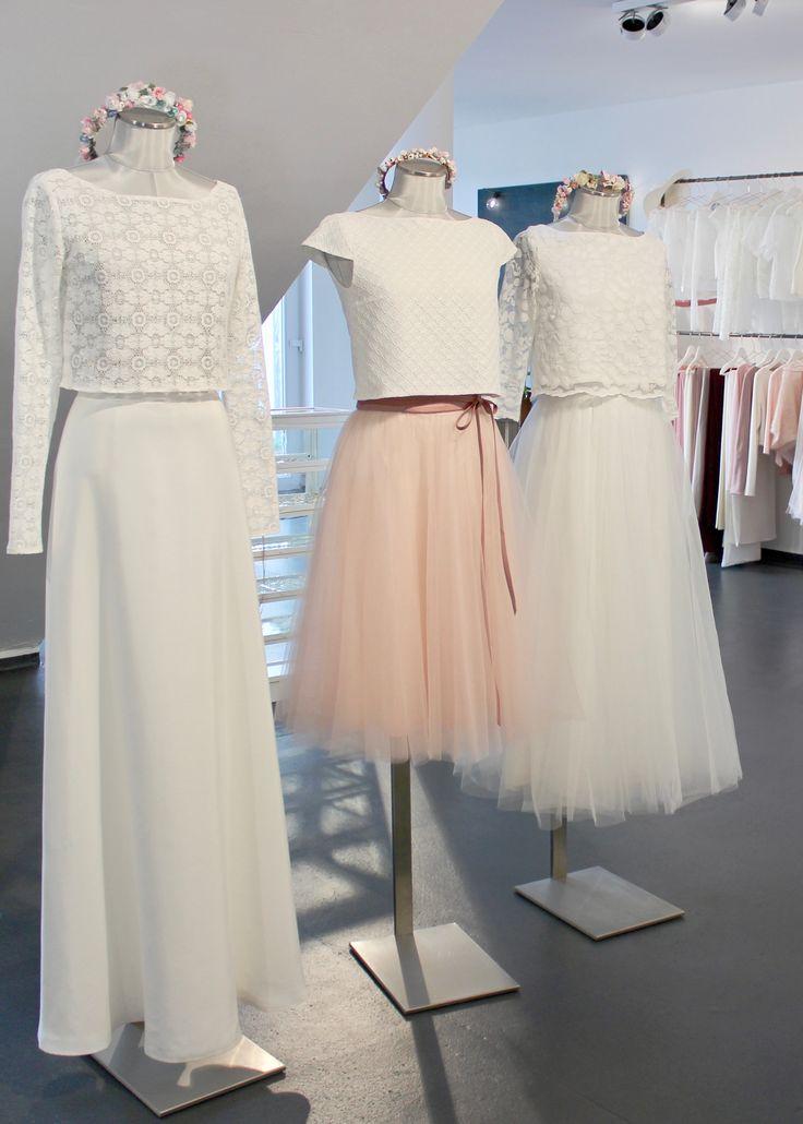 Brautkleider, Zweiteiler, Top - Rock Kombi für die Hochzeit mit Spitze und Tüll - von noni