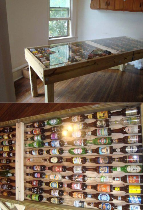 ED: nothing really to do with pottery except I thought you might like this !Beer Bottle Table