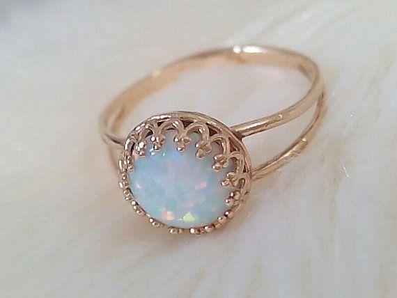 WHITE OPAL RING white opal gemstone birthstone ring by jewelryglow