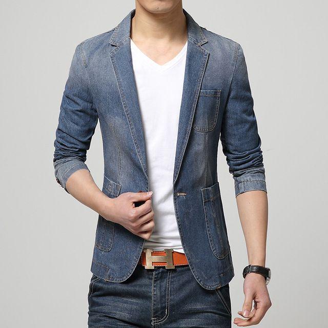 Hot 2015 nuovo marchio di moda primavera maschile giacca sportiva degli uomini dei jeans di tendenza adatta il vestito casuale jean jacket uomo slim fit giacca di jeans degli uomini del vestito