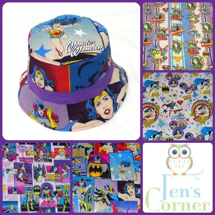 Handmade by Jen's Corner  2 x custom girl power hat spots made from any of the pictured rare and out of print fabrics.
