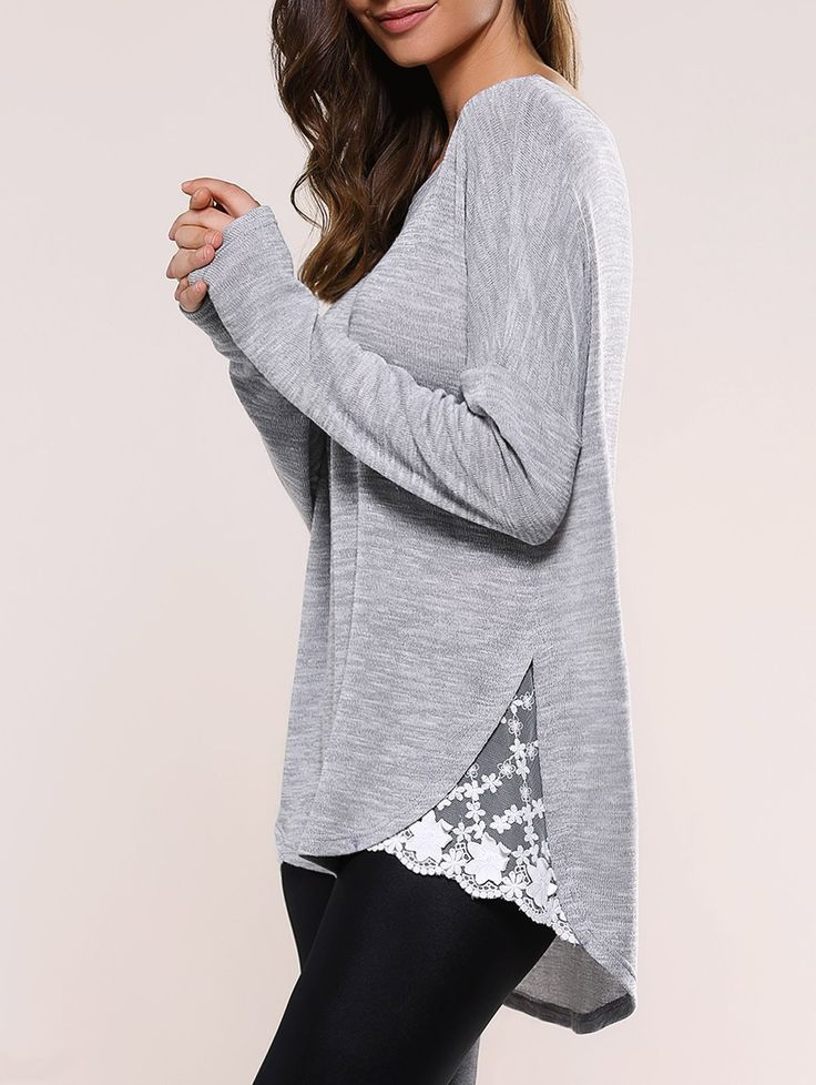Loose Fit Lace Splicing Asymmetric Knitwear in Blue Gray | Sammydress.com