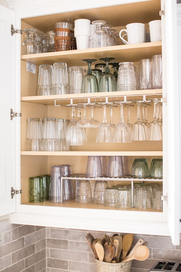 How To Organize Your Glassware Cabinet Once And For All Kitchen Organization Diy Kitchen Cabinet Organization Home Kitchens
