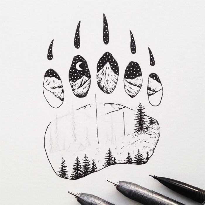 black-white-animal-landscape-hybrid-drawings-sam-larson-steel-bison-3