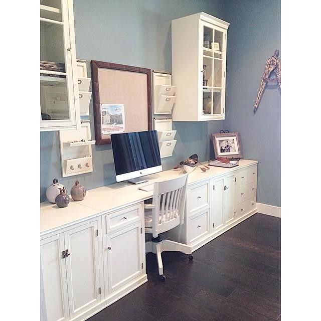 Pottery Barn Logan Small Office Suite - I like how she made the upper hutches into floating cabinets. Creates more counter space and a light, airy feel