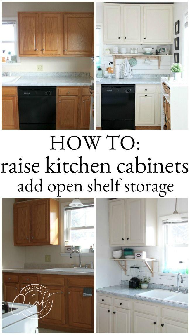 Genius Diy Raising Kitchen Cabinets And Adding An Open Shelf Diy Kitchen Renovation Kitchen Diy Makeover Kitchen Renovation