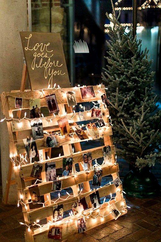 rustic wood pallet wedding photo display