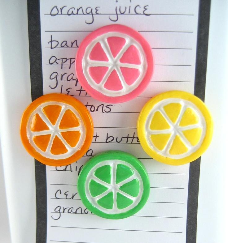 Cute Fridge Magnets Citrus Fruit Slices Orange Lime Lemon Handmade Kitchen Decor