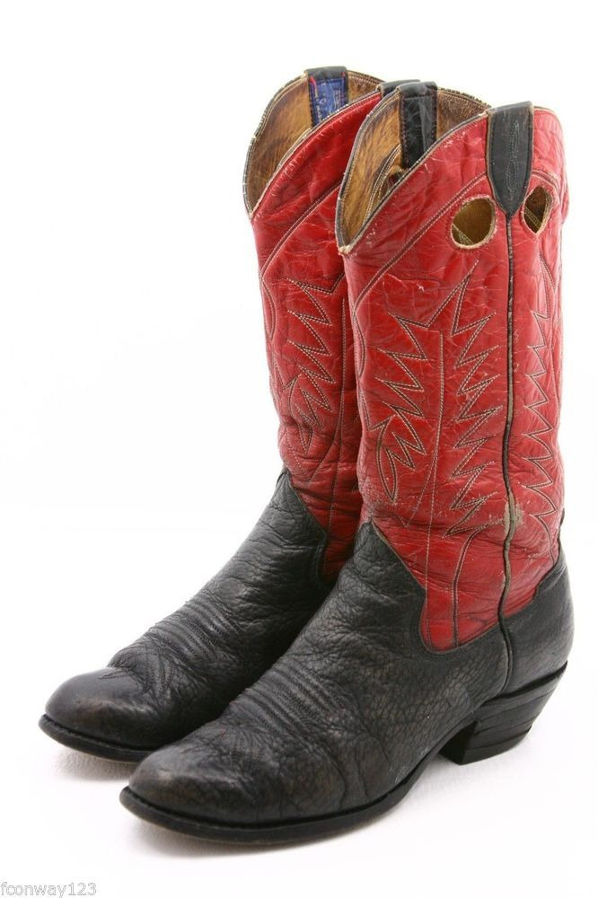 $0.99 Auciton, Saunders Mens Cowboy Boots Size 10 D Red Black Leather  Buckaroo pull on