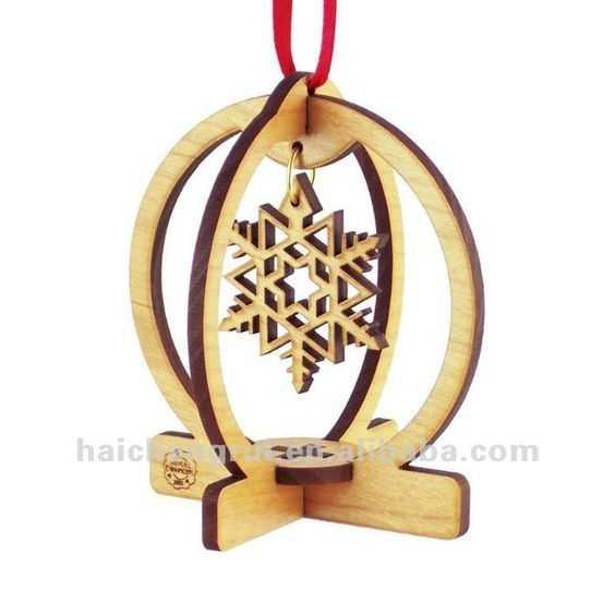 SNOW GLOBE Snow Flake Laser Cut Wood 3D Christmas Tree Ornament: