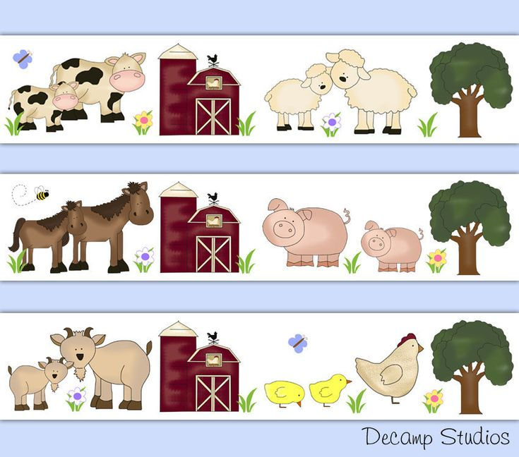 FARM ANIMAL NURSERY Baby Decals Wallpaper Border Wall Art
