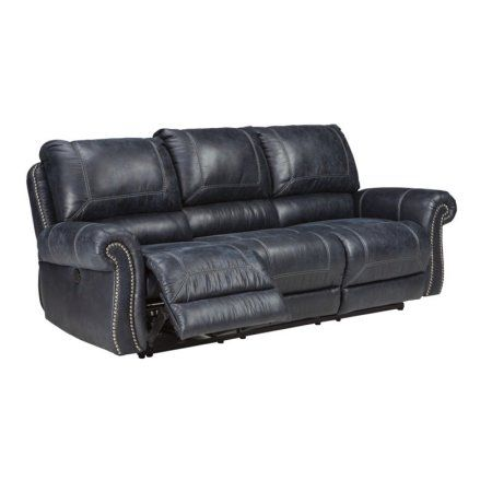Ashley Milhaven Reclining Faux Leather Sofa in Black