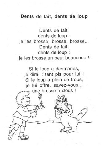 "comptines dents--this one can be sung to the tune of ""Sur le pont d'Avignon"""