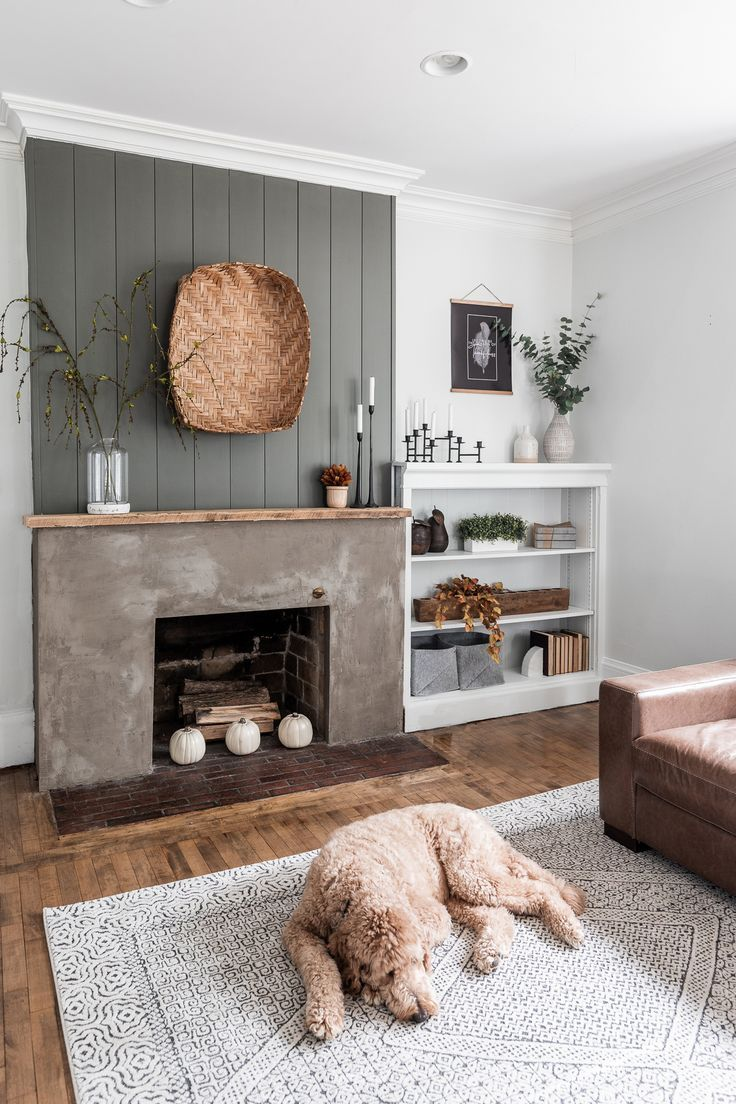 Modern Rustic Minimalist Fall Mantel Styling Living Room With