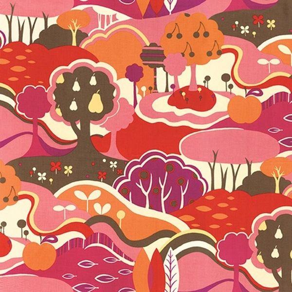 Momo Moda avant garde. Soepele katoen met retro landschap.