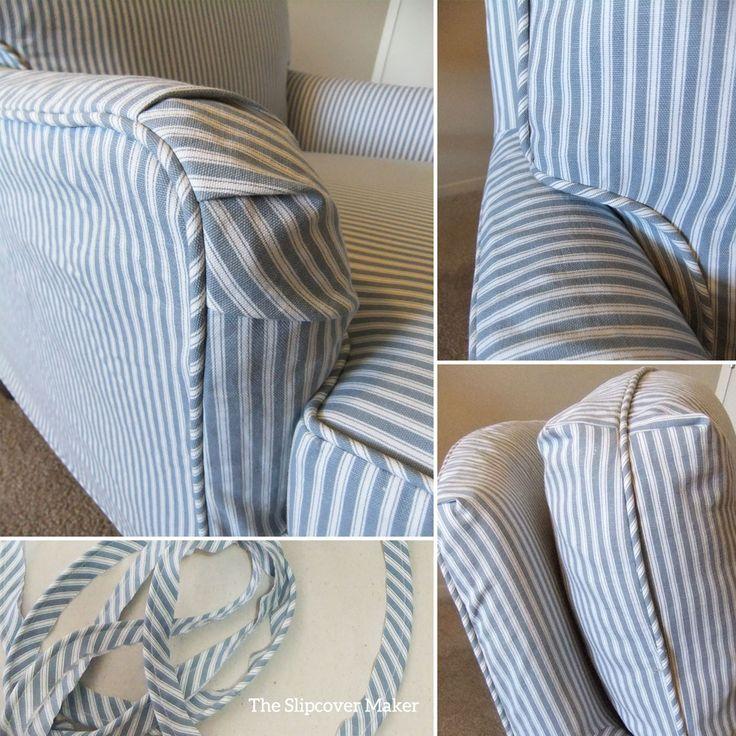 Ticking Stripe Slipcover For Old Drexel Chair Blue