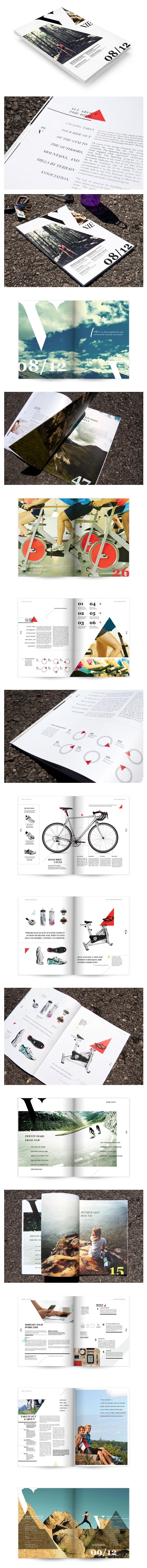 Vie Magazine triangle editorial layout design based on the bike shape