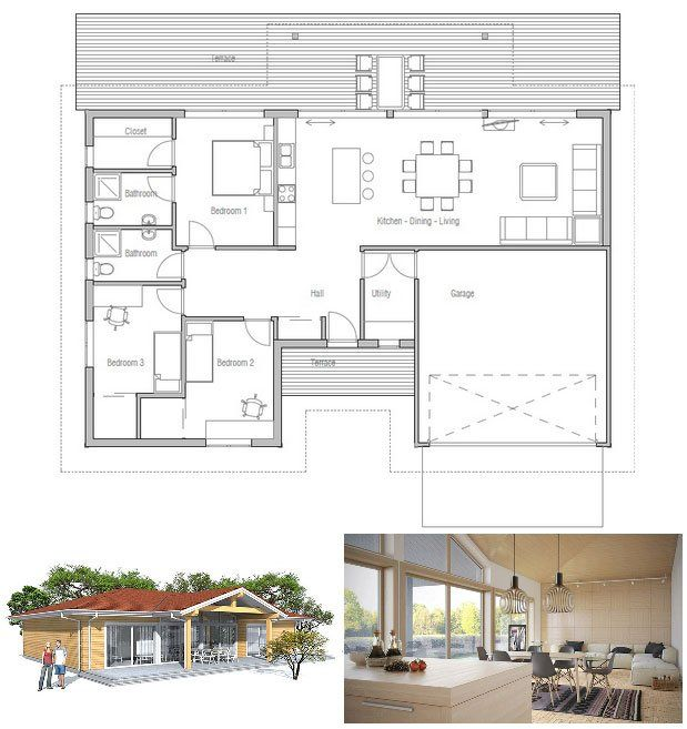 Living Dining Drawing Plan Modern House Plans Free: Modern House Plan With Vaulted Ceiling In Living & Dining