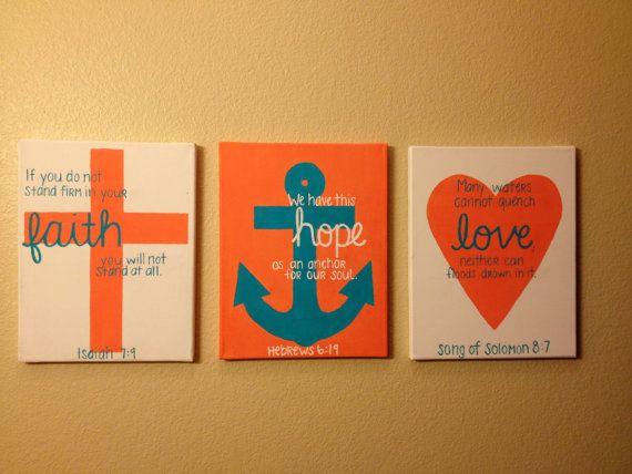Scripture art - Cross Anchor Heart